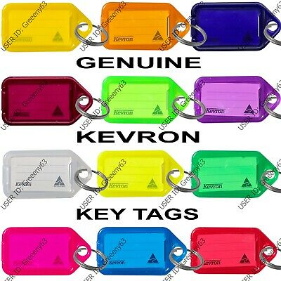 KEVRON Plastic Key Click Tags Labels Assorted Colours Fobs Card ID Heavy Duty • 3.25£
