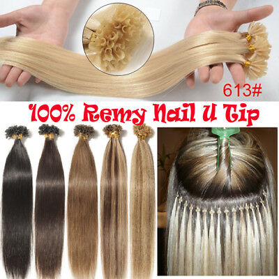 $45.20 • Buy Nail U Tip Fusion Keratin Remy Human Hair Extensions 8A Pre Bonded Thick Blonde