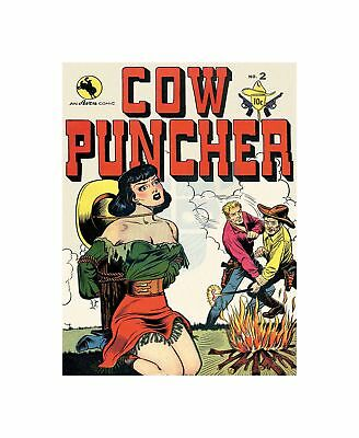 ACG Retro Comic Book Cover Cow Puncher Damsel Large Canvas Print • 16.50£