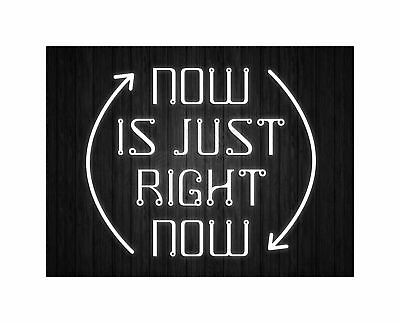 Now Is Just Right Quote Light Motivation Typography Art Canvas Print • 16.50£