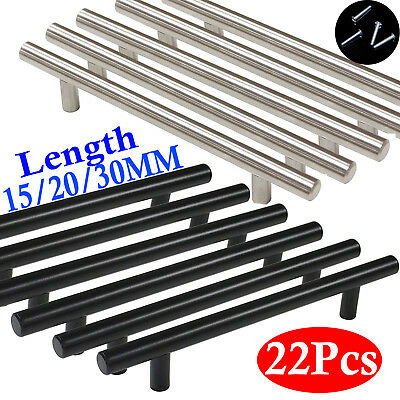 22 Set Brushed Steel T Bar Handles Kitchen Cabinet Door Cupboard Drawer Wardrobe • 7.49£