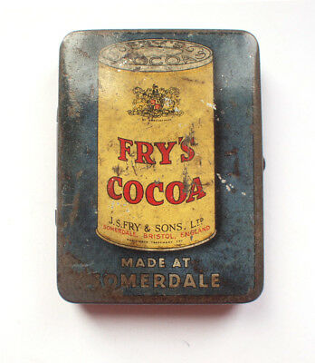 Fry's SOMERDALE Cocoa Drink Sample Tin Dolls House Toy 1920s Vintage Vesta • 40£