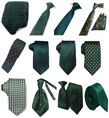 £4.99 • Buy Bottle Green Collection Woven Paisley Jacquard Silky Knit Satin Tie Wedding Lot