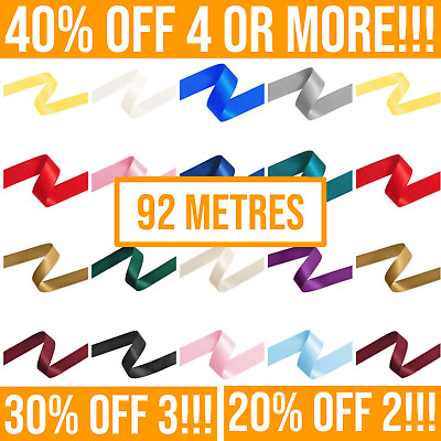 92 Metres, Double Sided Satin Ribbon (Full Rolls) 3mm 6mm 10mm 15mm 25mm Widths • 11.24£