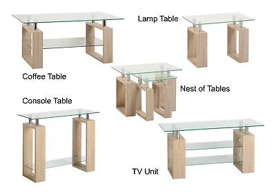 Milan Glass Coffee Lamp Console Nest Of Tables Or TV Stand - Oak Effect & Chrome • 83.95£