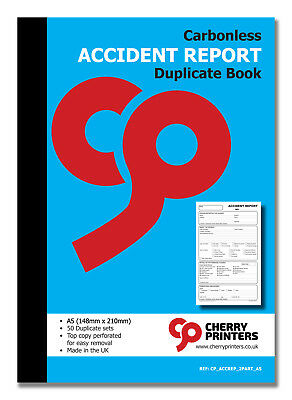 £6.95 • Buy Cherry NCR Accident Report Duplicate Book A5 (148mm X 210mm) 50 Sets