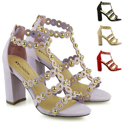 £14.99 • Buy Womens Strappy Sandals Ladies Open Toe Caged High Block Heel Back Zip Stud Shoes