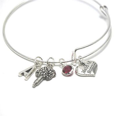 $3.54 • Buy Maid Of Honor Charm Bracelet Jewelry Bridal Party Gift Monogrammed Bangle