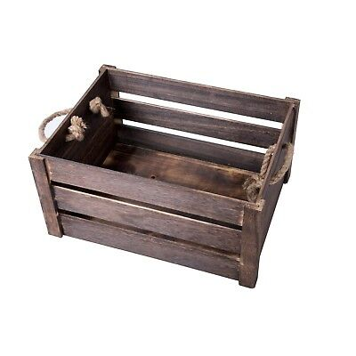 Strong Rope Handle Display Storage Wooden Crate Shelve Box Christmas Gift Hamper • 13.29£