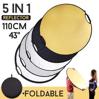 110cm 43'' 5in1 Photo Photography Mulit Collapsible Light Reflector Handle Grip • 15.98£