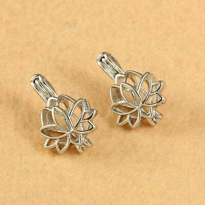 $ CDN4.33 • Buy 5X Silver Lotus Flower Pearl Beads Cage Pendant DIY Necklace Making Jewelry Gift