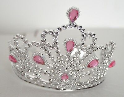 NEW Plastic Silver Childrens Tiara Flower Stone Hair Accessory Party Prom Crown • 4.49£