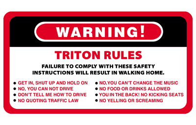 AU6.50 • Buy Warning Rules Triton Series 4WD 4x4 Vehicles Decal Stickers