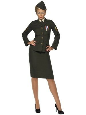 Wartime Officer Costume Fancy Dress Small 8-10 Ladies Uniform Army • 45£