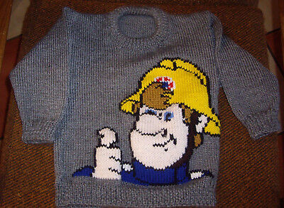 Fireman Sam    Jumper  New Hand Knitted Size 3-4  • 19.09£