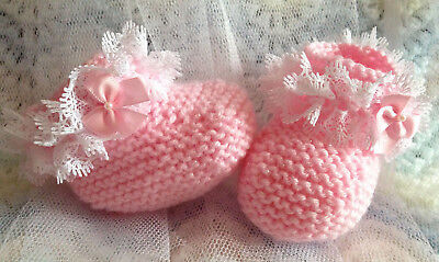 £4.95 • Buy Pink Sparkle/White Lace Knitted Baby Boots/Booties Pink Satin Bows 0-3 Months