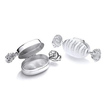 Sterling Silver Sweet Shaped Engraved Trinket Box Pills Tooth Jewellery Gift • 70.55£