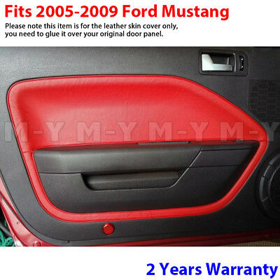 $34.93 • Buy Fits 05-09 Ford Mustang Leather Door Panel Insert Replacement Cover 2pcs RED