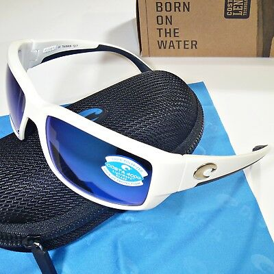 a909a22b9c09b Costa Del Mar Fantail Polarized Sunglasses - White   Blue Mirror 400G Glass  Lens • 124.95