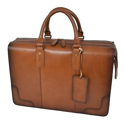 Doctors Briefcase Tan Italian Leather Zipped Frame File Case Business Laptop Bag • 159.99£