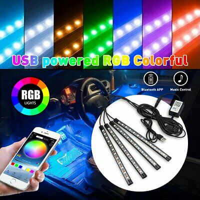 $19.79 • Buy AUXITO 4X RGB 48LED Strip Atmosphere Light BT Car Interior USB Phone APP Control