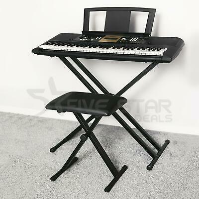 Folding Double Braced X Frame Adjustable Keyboard Music Stand W/ Straps Electric • 19.94£