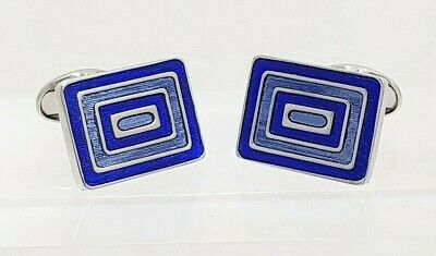 Royal Blue Enamel And Sky Blue Concentric Striped Cufflinks By Ian Flaherty  • 34.95£