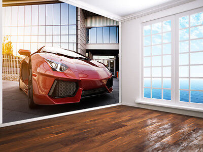 £19.99 • Buy Red Fast Sports Car In Modern Urban Style Photo Wallpaper Wall Mural (64703073)