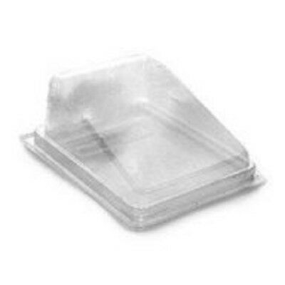 £10.95 • Buy 50 Plastic Cake Slice Box Container Wedge Hinged Bakery Deli Cater Picnic Party
