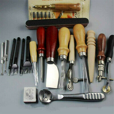 18Pc Vintage Leather Craft Kit Stitching Sewing Beveler Punch Working Hand Tools • 25.95£