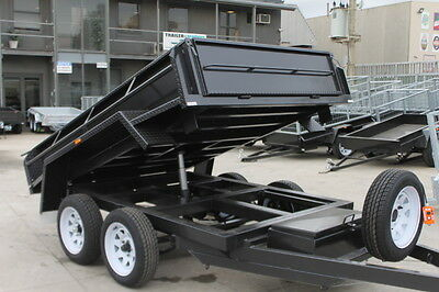 AU7115 • Buy 9x5 TANDEM AXLE HYDRAULIC TIPPER BOX TRAILER -15 (380mm) HIGH SIDES-NEW TYRES