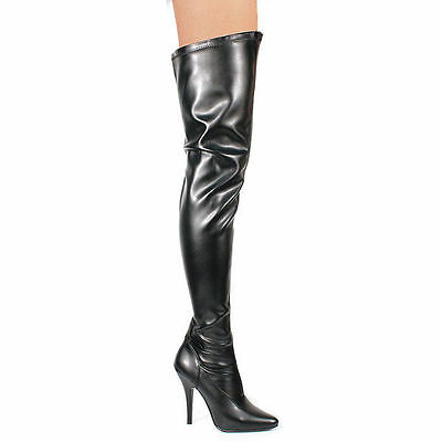 be1aa76f319606 Seduce-3000 Pleaser High Heels Overkneestiefel Schwarz Stretch Lederoptik  36-47 • 91.95€