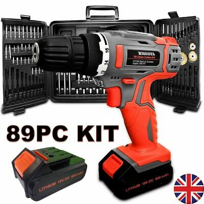 View Details TERRATEK 18V CORDLESS COMBI DRILL DRIVER ELECTRIC SCREWDRIVER 89PC & 2 BATTERIES • 49.95£