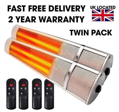 Twin Pack Patio Outdoor Electric Heater 2kw Wall Mounted Infrared Garden Heater • 134.95£