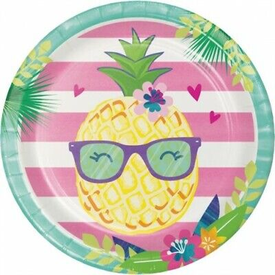 Pineapple N Friends 9 Inch Paper Plates 8 Per Pack Birthday Luau Party • 2.23£