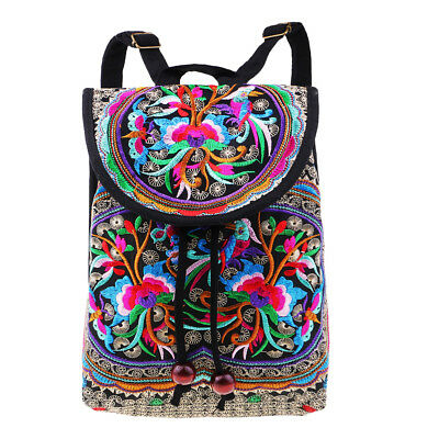 Canvas Women Backpack Embroidery Flower Packsack Lady Ethnic Travel Bag #9 • 9.33£