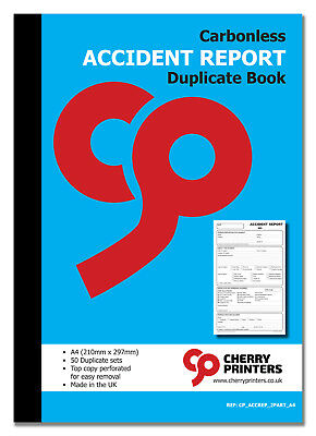 £8.95 • Buy Cherry NCR Accident Report Duplicate Book A4 (210mm X 297mm) 50 Sets