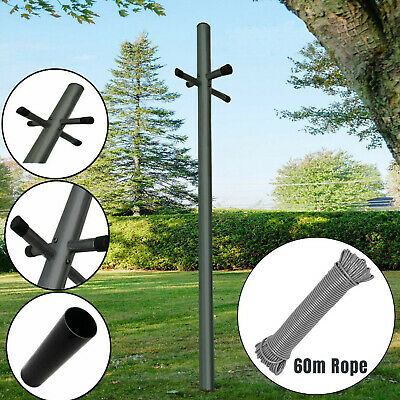£24.94 • Buy Galvanized 2.4m Heavy Duty Clothes Washing Line Post Pole Support With Socket