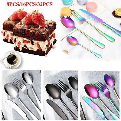 £13.99 • Buy 8/16/32pcs Colorful Iridescent Fork Spoon Stainless Cutlery Set For Dining UK