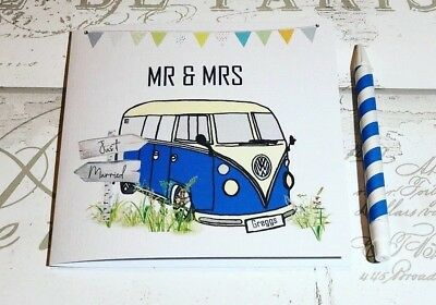 £4.02 • Buy Hand Drawn Just Married Campervan Wedding Card Farm Wedding /Festival/ Rustic