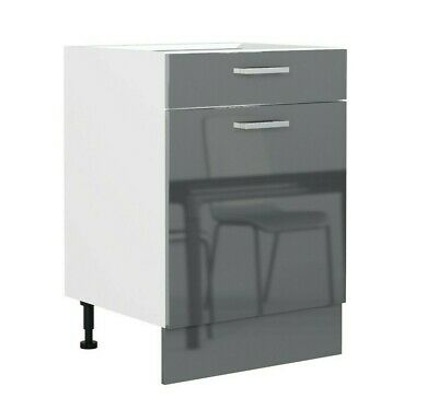 Grey Gloss Kitchen Unit Base Cabinet Cupboard 600 60 Soft Close Door Drawer Luxe • 134.95£