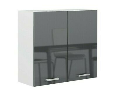 £109.95 • Buy Grey Gloss Kitchen Unit 80cm 800mm Wall Cabinet 2 Door Cupboard Soft Close Luxe