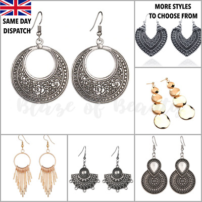 £3.39 • Buy Gold Silver Earrings Round Statement Drop Hoop Ethnic Boho Fashion Disc