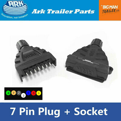 AU19.23 • Buy ARK Trailer 7 Pin Standard Flat Plug Socket Male/Female Type With Magnet UB