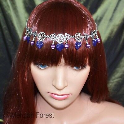 £10.50 • Buy Pentacle Triquetra Forest Headdress - Twilight Purple - Pagan Gothic Night Goth