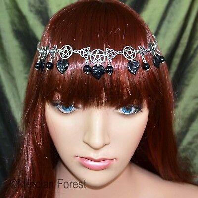 Pentacle Triquetra Forest Headdress - Gothic Black - Pagan Goth Witch Mourning • 10.50£