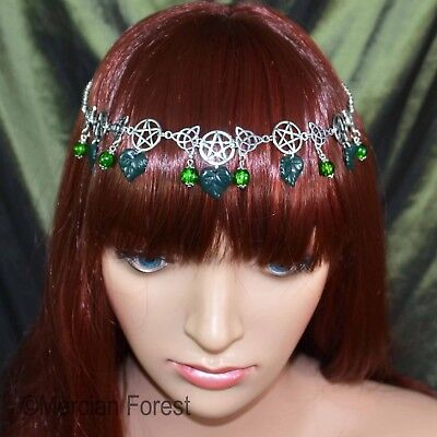 Pentacle Triquetra Forest Headdress - Forest Green - Pagan Wicca Witch Summer • 10.50£