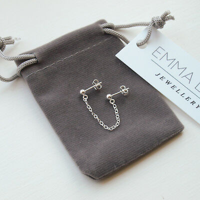 £12.99 • Buy Sterling Silver Double Lobe Piercing Earring - Chain Studs For Two Holes