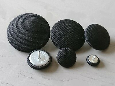 £6.20 • Buy Black Suit Fabric Buttons 10mm 16mm 18mm 20mm 25mm 31mm 37mm Small & Large