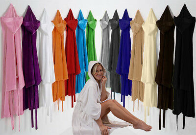 £15.99 • Buy UNI SEX  Bath Robe Combed Cotton Terry Towelling Hooded Bathrobe All Size !!!!
